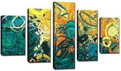 Quadro Moderno cm 166x90 Stampa Su Tela 5 Pezzi Quadri Moderni Astratto 1