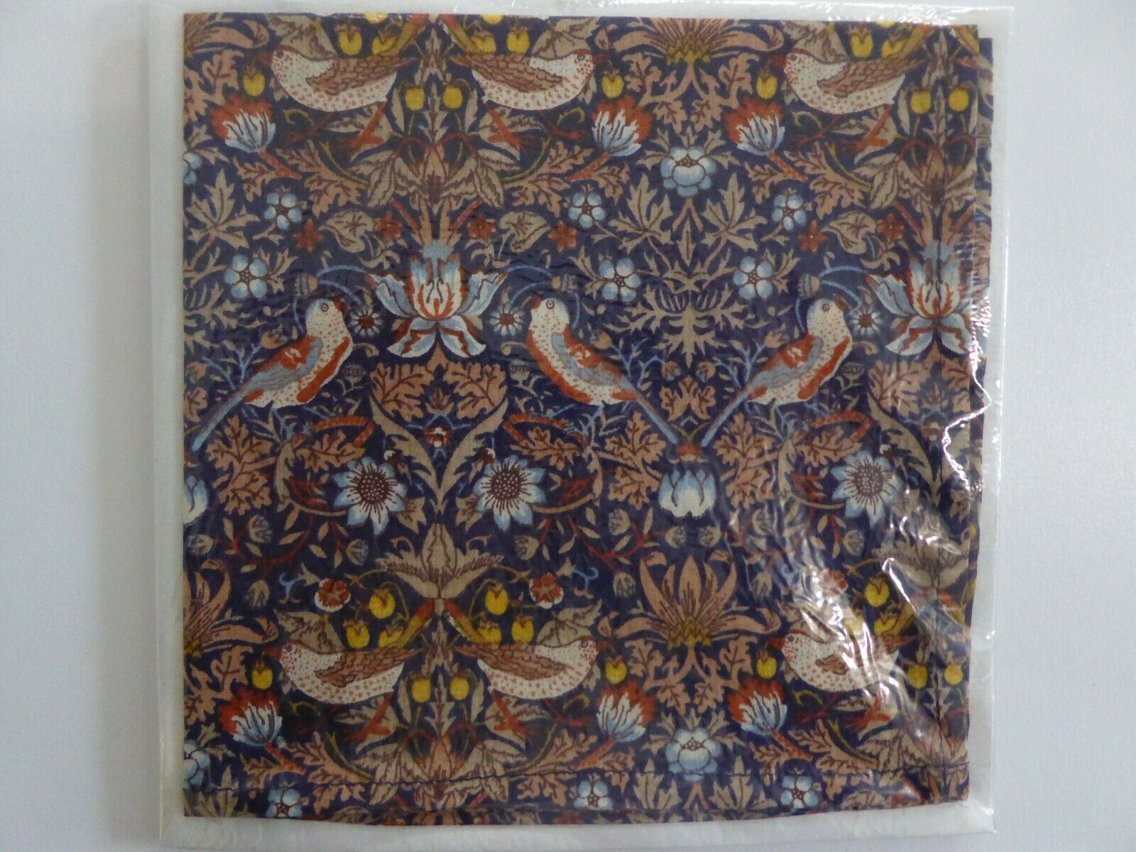 Liberty of London Fabric Handkerchief Hand Crafted, Strawberry Thief Design