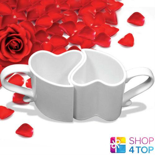 Heart Shaped 2 Mugs Love Cups Coffee Tea Ceramic White Romantic Valentine |  EBay
