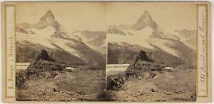 A. Braun Grand Monte Gervin Foto Stereo L53S1n31 Vintage Albumina c1862
