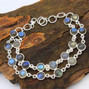 Christmas-Spcl-Natural-Labradorite-925-Sterling-Silver-Round-Bracelet-7-75-034