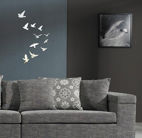 3D Cute Acrylic Birds Mirror Effect Wall Sticker Decal Modern Room Decoration