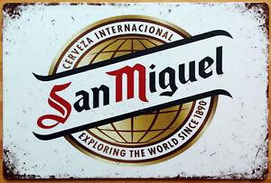 Blechschild SAN MIGUEL Cerveza Bier Beer Ale 30 x 20 cm Metallschild Vintage NEU