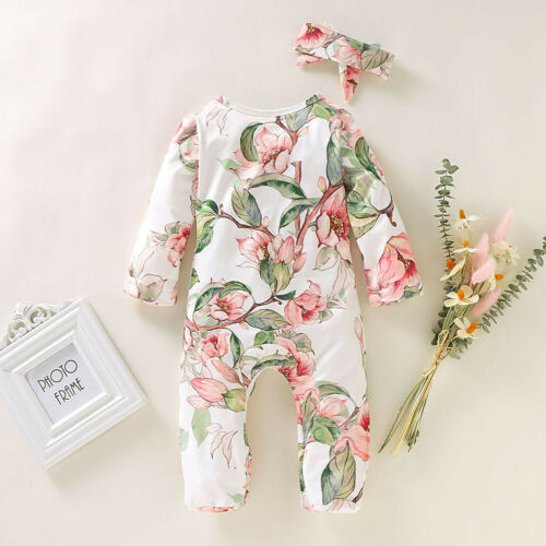 Toddler Newborn Infant Baby Girl Boy Romper Headband Floral Clothes Outfits Set
