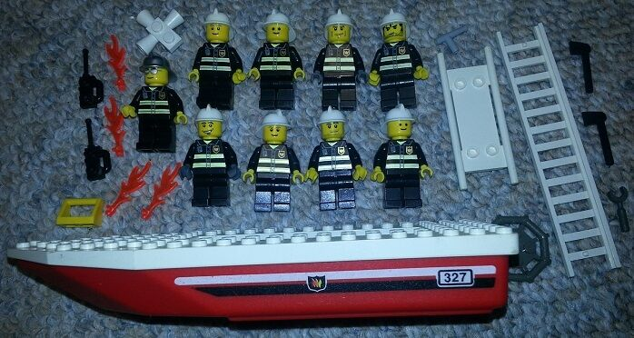 LEGO Lot of 9 FIREMEN Firefighter Minifig Figures w Rare BOAT + Specialty Pieces