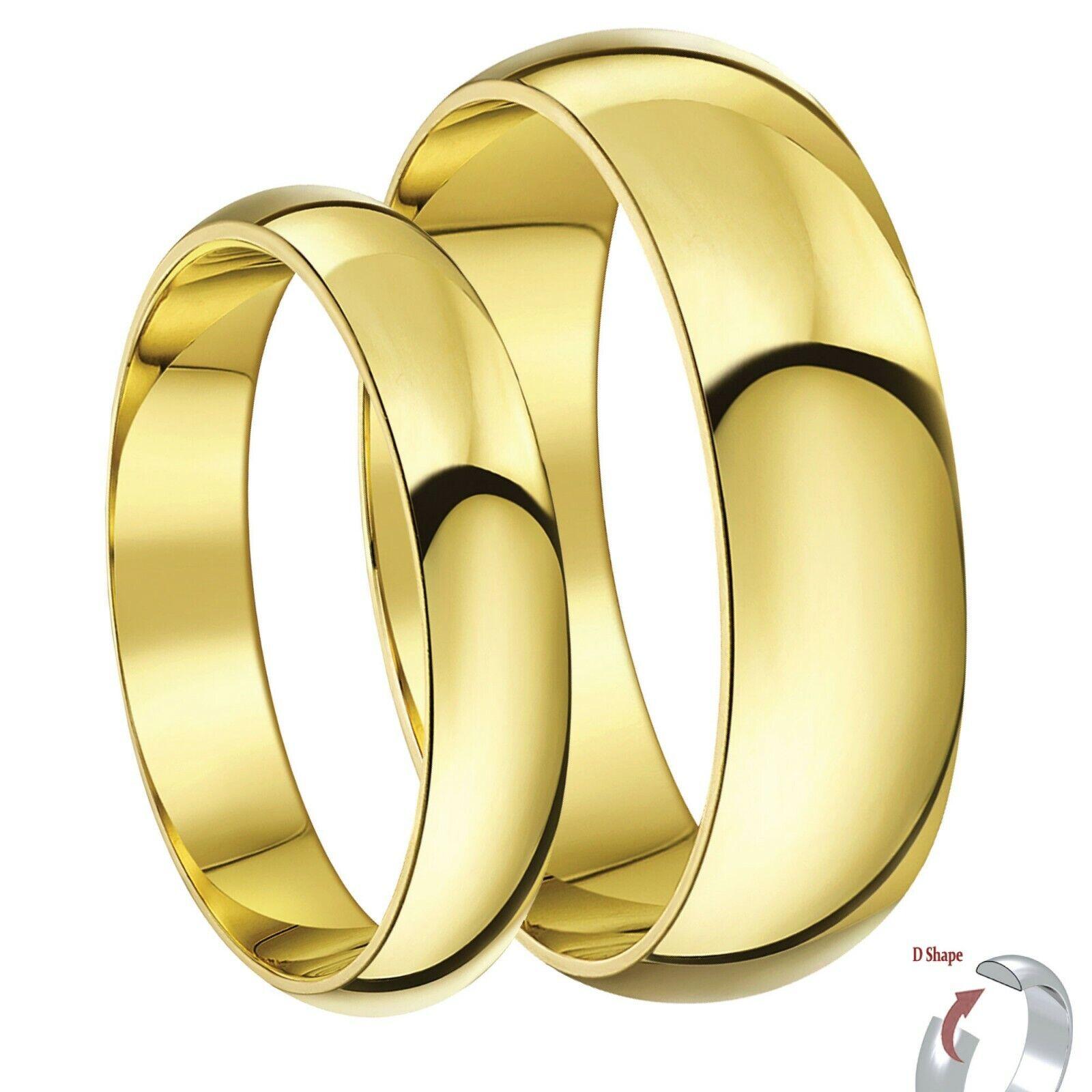Er & Sie 4 & 6 mm 9ct yellow gold D Form Schwer Hochzeit Ringe