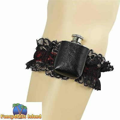 SEXY PIRATE GARTER WITH HIP FLASK - womens fancy dress costume accessory