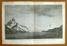 BAYE DE LA POSSESSION AU ILE GEORGIE DU SUD Gravure Voyage de COOK James 1778