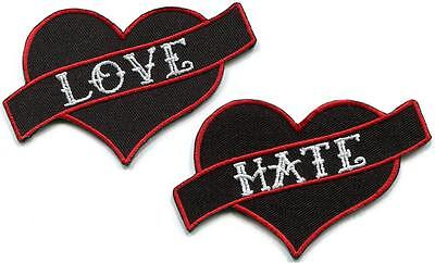 Lot of 2 love & hate heart biker tattoo funny joke applique iron-on patches new