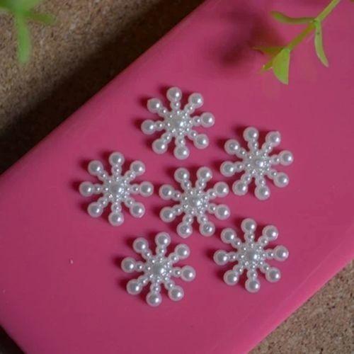 100x Snowflake Flatback Pearl Embellishments Christmas Craft DIY Cardmaking 15mm