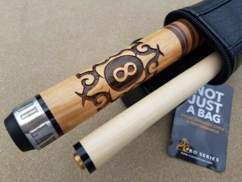 New Outlaw Pool Cue OL29 Tribal 8-Ball Stacked Leather Wrap FREE 1x1 Case!!