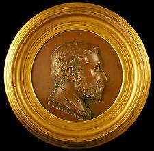 """Profil de A Garnaud en bas-relief """"souvenir de Amélie les Bains 1867 34 cm cadre"""