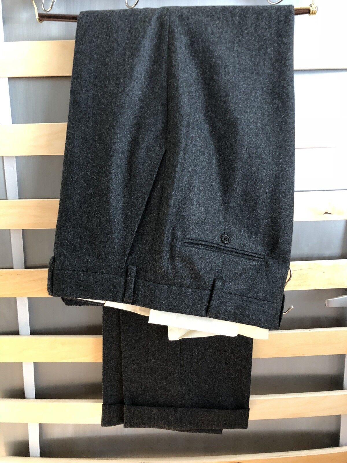 Ralph Lauren Purple Label — Charcoal Flannel Trousers — Flat Front — Size 35