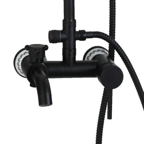 AS Classic Black Oil Bathroom Tap Square Rainfall Shower Head Set Wall Mount