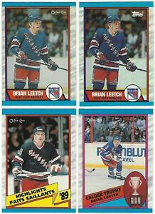 1989-90 O Pee Chee & Topps BRIAN LEETCH Rookie Cards #136, 321, 326 - 4 Card Lot