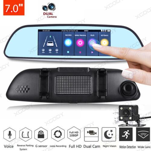 HD 1080P 7/'/' Car Vehicle Rearview Mirror Camera Recorder DVR Dual Lens Dash Cam