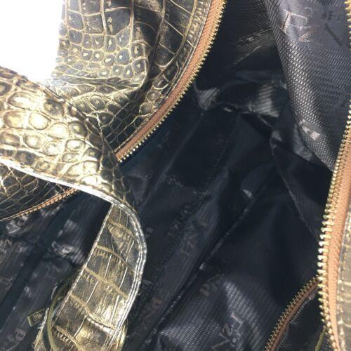 Gold Faux Leather Crocodile Embossed Travel Bag Wheels Handbag The Find