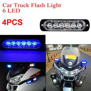 4-Pezzi-Blu-6-LED-Camion-Faro-Sicurezza-Pericolo-Pericolo-Flash-Strobo-Faro