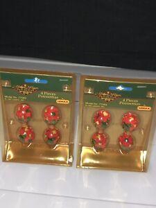 VTG Lemax Memory Makers Poinsettias Christmas Village Doll House Miniature 1997