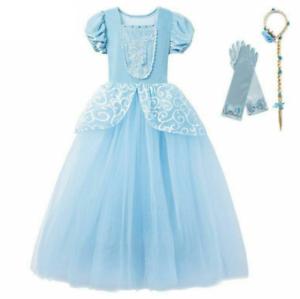 Girl-Cinderella-Cosplay-Dress-Puff-Sleeve-Princess-Costume-Layer-Party-Dress-Set