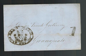 1855 Leon Mexico Stampless Letter sheet Cover to Guanajuato