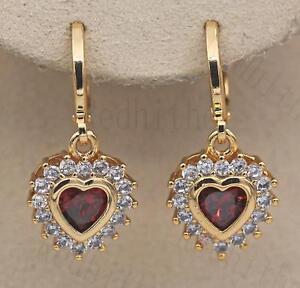 18K-Gold-Filled-Earrings-Flower-Heart-Jewelry-Ear-Stud-Ruby-Zircon-Topaz-Gift