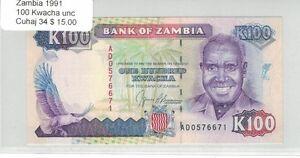 Uncirculated Banknote 1991 Zambia,100 Kwacha Cuhaj 34 Ad0576671