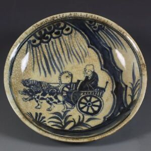 China-old-antique-jingdezhen-Ming-xuande-Old-man-Tree-plate-Porcelain