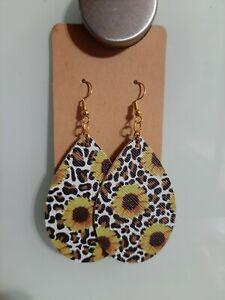 Cheetah faux leather earrings