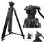 Professional-Heavy-Duty-DV-Video-Camera-Tripod-with-Fluid-Pan-Head-Kit-72-Inch miniatuur 1