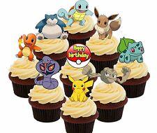 Pokemon Fiesta De Cumpleaños - 36 Magdalena Toppers Comestible, Decoraciones De Pastel De Hadas ir