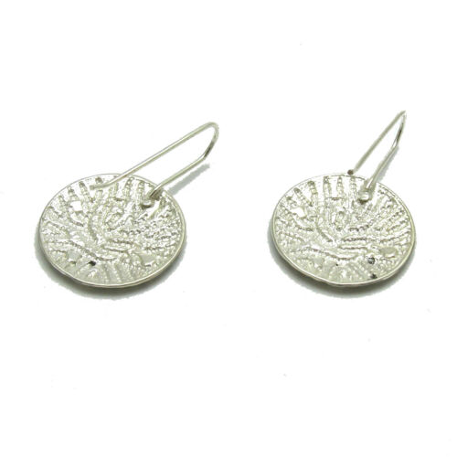 Handmade sterling silver round earrings on hook solid 925 E000721 Empress