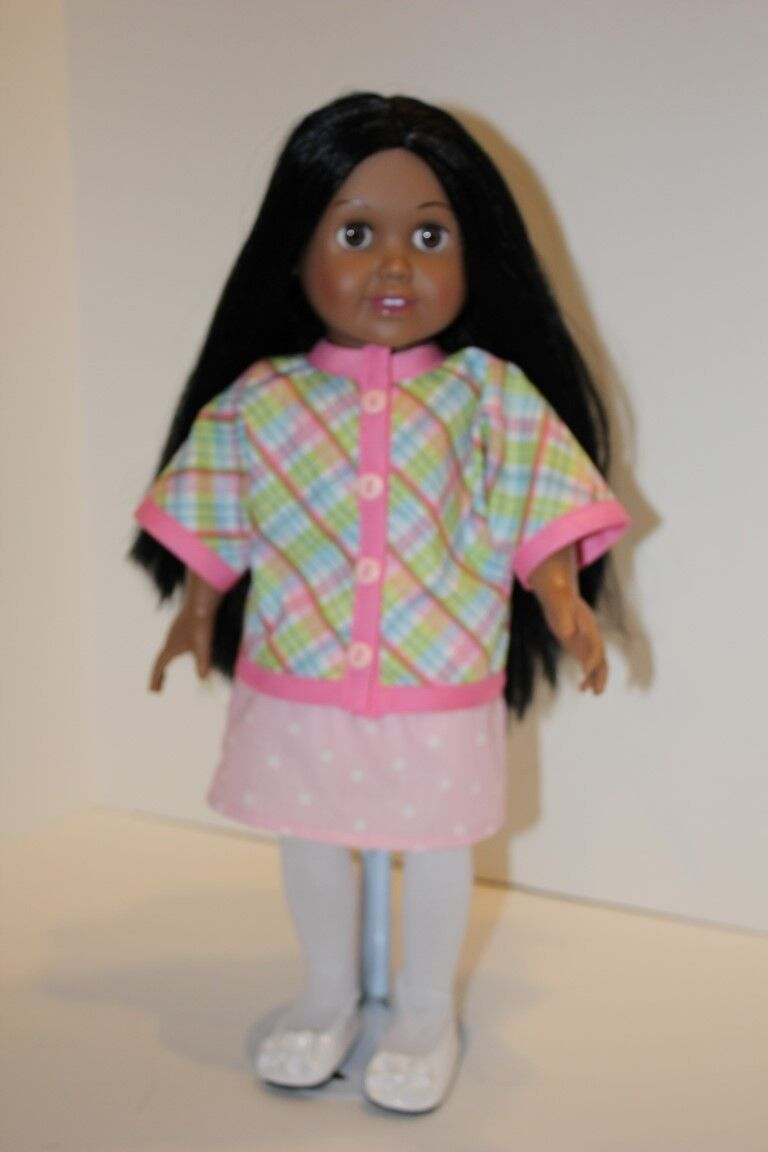 Polka Dots and Plaid Complete Handmade Outfit for 18 inch Doll NH-14