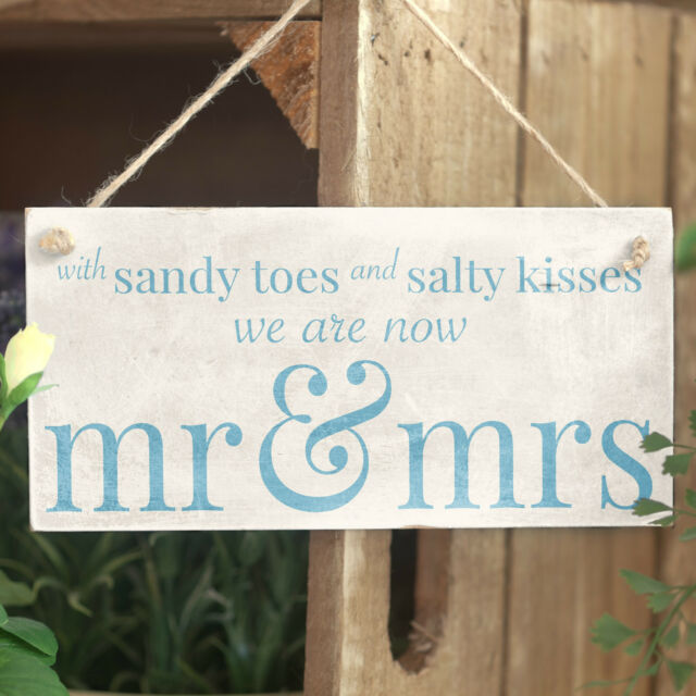 With Sandy Toes .. Mr & Mrs - Handmade Wooden Sign Beach Wedding / Married Sign