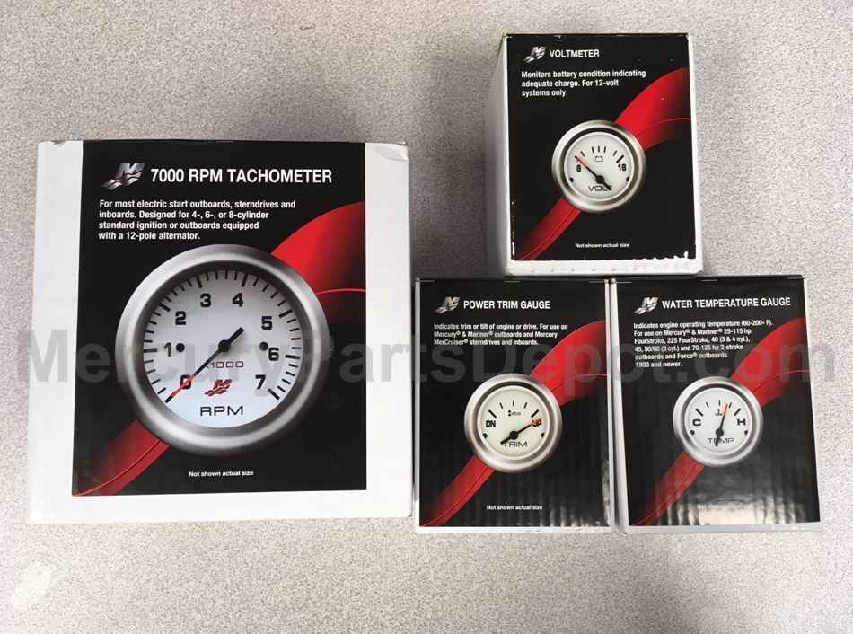 Mercury Analog Gauge Set - White W/ chrome - 7K Tachometer