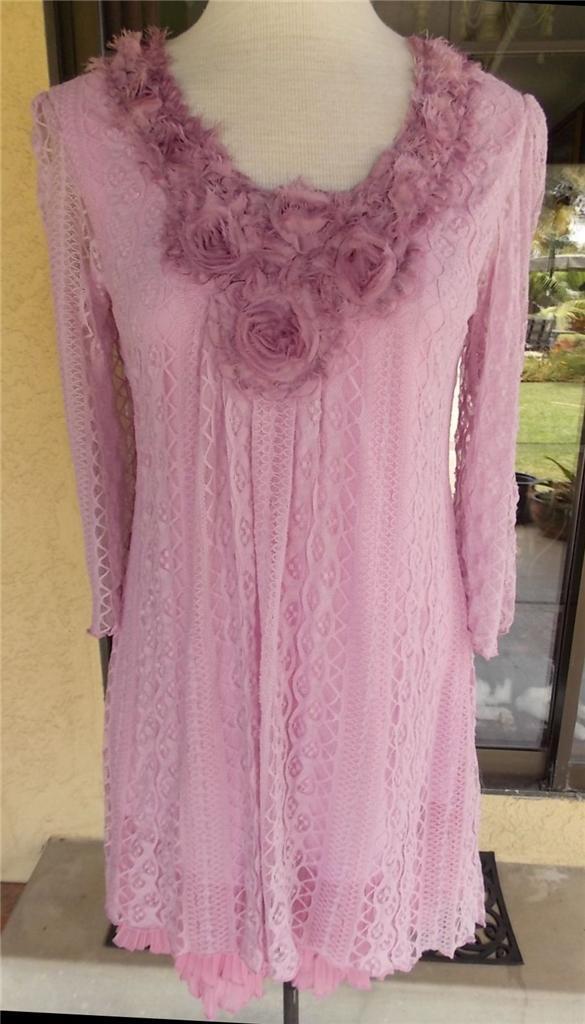 Pretty Angel Rosa Lace Ribbon Flower Neckline Ruffle Trim Tunic Dress  S