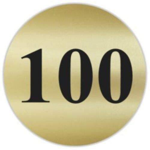 "50pc Number 100 Gold /& Black 1.5/"" Round Matte Stickers ~ Score Inventory Label"