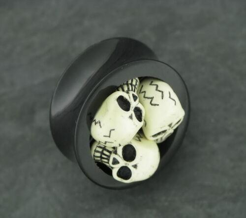 TOTENKOPF Skull Plug Old School Rockabilly Piercing 16MM Ohrring Tunnel Ohrplug