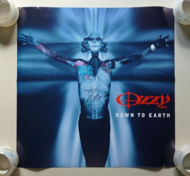 OZZY OSBOURNE Down To Earth PROMO ALBUM COVER POSTER ~ 24 X 24 ~ SIGNED ~ JSA