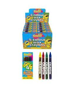 JOB-LOT-of-720-PACKS-of-4-WAX-CRAYONS-Smiley-Happy-Face-Toy-Wholesale-Bulk-Buy