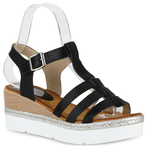 Damen Plateau Sandaletten Keilabsatz Metallic Keilsandaletten 826015 Trendy