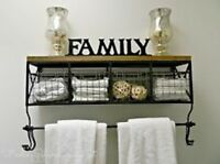 Black Metal & Wood Shelf with Baskets & 8 Hooks Shabby Chic Home Wall Decor