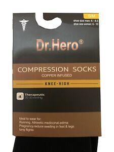 "Dr.Hero® 3-Pairs COMPRESSION SOCKS Knee High  "" Unisex & 20-30 mmHg & Cooper """