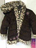 Girls Coat Animal Print Toddler Size 2t Pistachio Brown Fur Trim Hoodie Winter