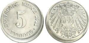 Empire 5 Pfennig 1911 A Lack Coinage 10% Dezentriert Prfr St