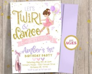 Ballerina 1st First Birthday Invitation - Girl Twirl and Dance Tutu Invitations