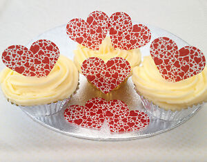 12 Red Hearts Shabby Chic Wafer Rice Paper Heart Cupcake Cake Bun Toppers