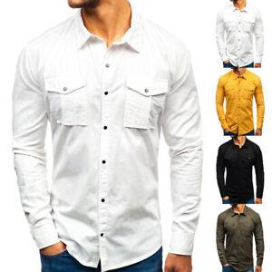 Fashion-Men-039-s-Long-Sleeve-Lapel-Shirts-Tops-Cotton-Casual-Multi-Pocket-Shirt-NEW