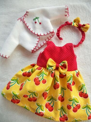 "YELLOW CHERRY Doll Dress Coat Bow Set For 14/"" American Girl Wellie Wishers"