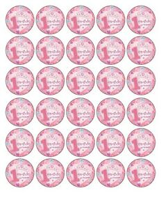 30x HAPPY 1ST BIRTHDAY GIRL EDIBLE FONDANT/WAFER PAPER CUP CAKE TOPPERS